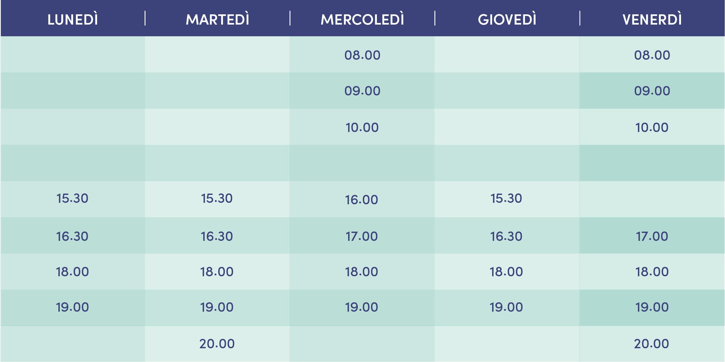 Tabella orari Pilates Centro Vignali